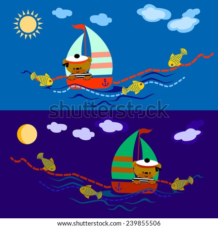teddy bear seaman floats on a sailing vessel on the dark sea and blue sea - stock vector