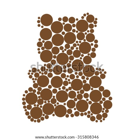 Teddy bear silhouette made of circles - stock vector