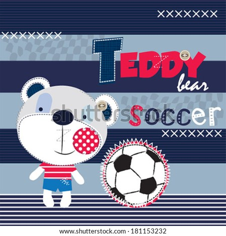 teddy bear soccer vector illustration - stock vector