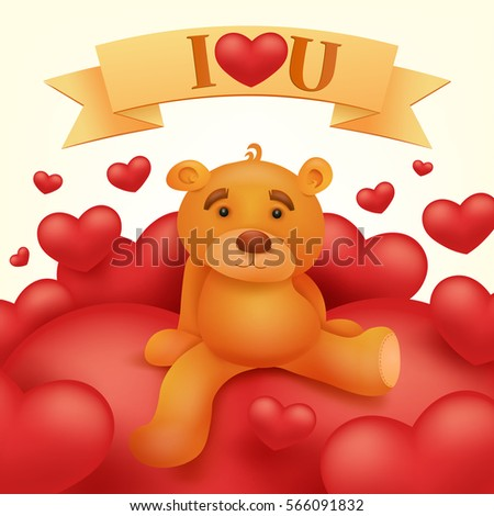 Teddy Bear Big Heart Illustration 117862420 Shutterstock – Teddy Bear Valentines Day Card