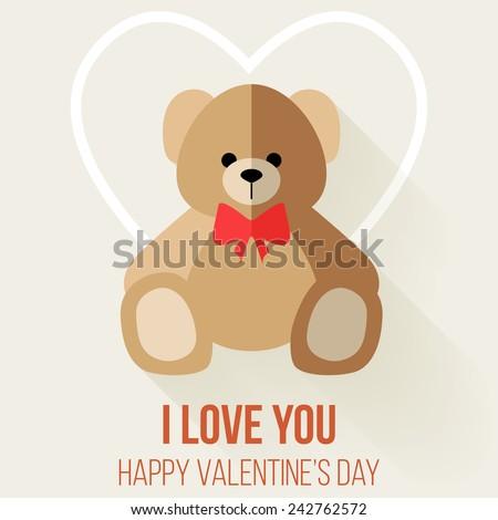 Teddy Bear Valentine's Day Card, Vector Flat Design - stock vector
