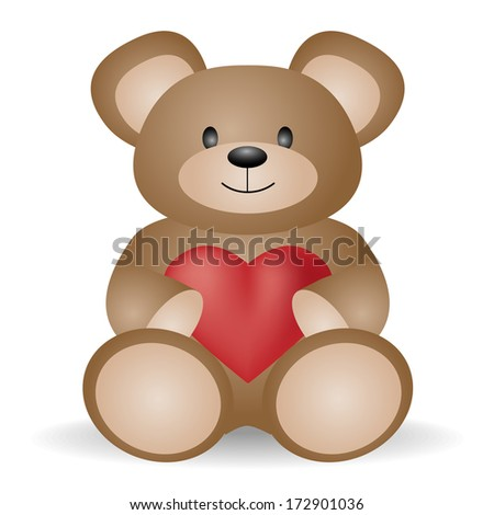 Teddy bear with heart for Valentines Day - stock vector