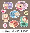 Teddy Bears gift tag/ sticker/ greeting card - stock photo