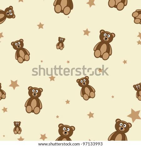 Teddy bears seamless pattern - stock vector