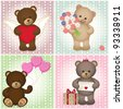 Teddy Bears with heart and wings, flowers, balloons, gift and letter. Contains transparent objects. File is easy to edit - all elements are separate layers and grouped. - stock vector