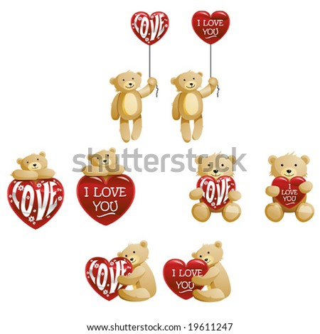 Teddy bears with Hearts - stock vector