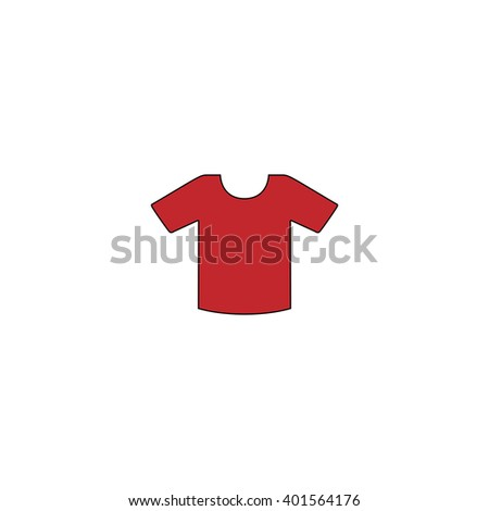 Tee-shirt design template. Red flat simple modern illustration icon with stroke. Collection concept vector pictogram for infographic project and logo - stock vector