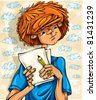 Teen boy, hairy red head, with pencil and paper sheets, young artist. Vector illustration. - stock