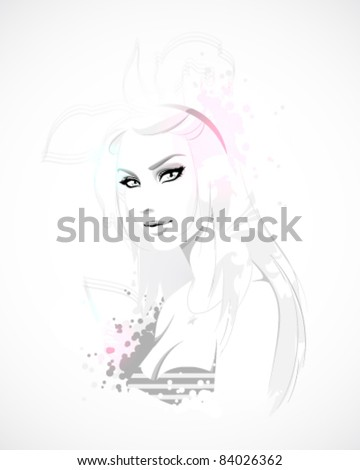 Teen girl, fashion illustration - stock vector