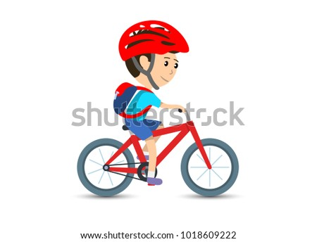 Teen kid school boy cycling on bicycle wearing backpack and helmet, vector illustration