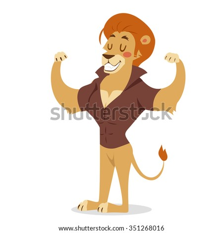 Teen lion power strong man illustration on white background. Cartoon lion sportsman, lion man vector. Lion hipster. Vector lion isolated. Lion like strong man with human body. Gym lion people icon - stock vector