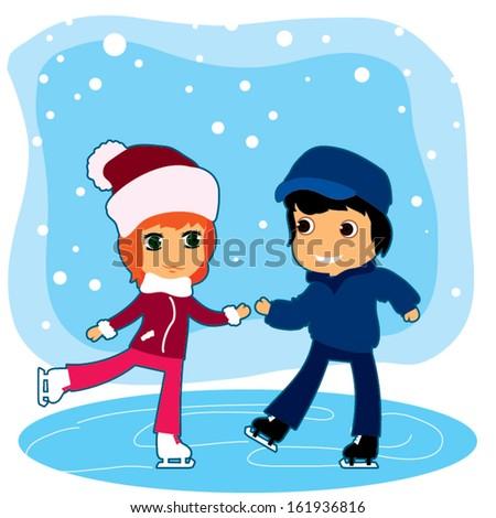 teenage boy and girl ice skating outdoor. cartoon vector illustration - stock vector
