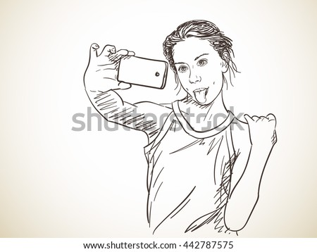 how to draw girl with phone