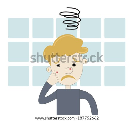 Teenager boy angry with acne - stock vector