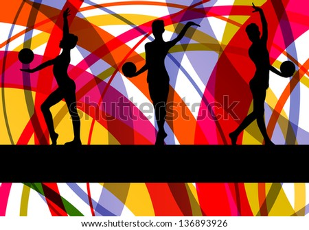 Teenager gymnast with ball vector background - stock vector