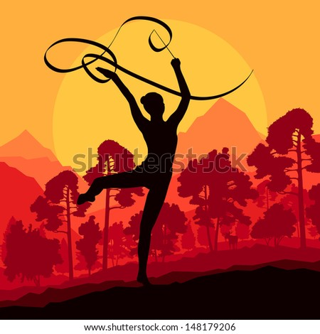Teenager gymnastics with ribbon vector background landscape