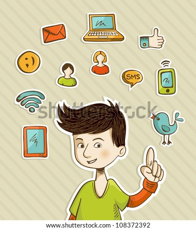 Teenager presents social media actions with retro cartoon style icon set. Vector file layered for easy manipulation and custom coloring. - stock vector