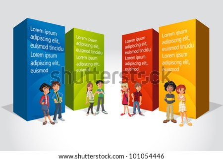 Teenager students in front of colorful boxes - stock vector