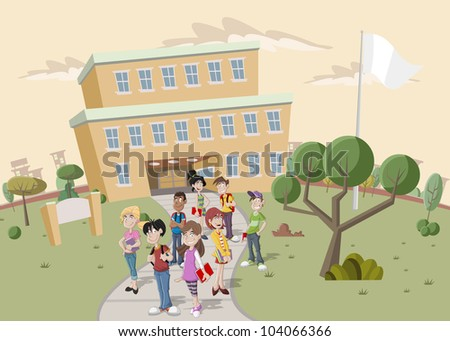 Teenager students in front of school - stock vector