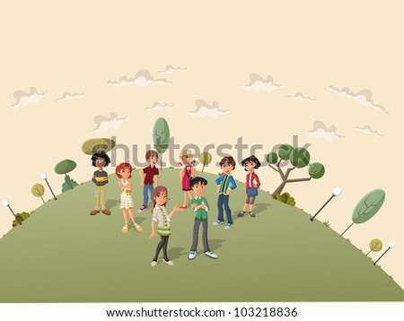 Teenager students in the street of a retro suburb park - stock vector
