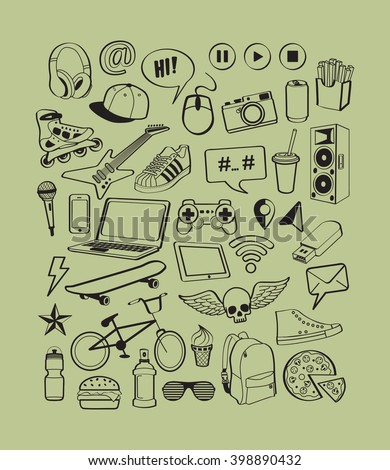 Teenagers having fun concept. Set doodle icons for teenage boy. Teen life. Cool, sport, music, multimedia, delicious, shoes collection. Doodles signs isolated on green background. Vector illustration