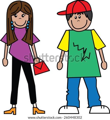 teens a boy and a girl - stock vector