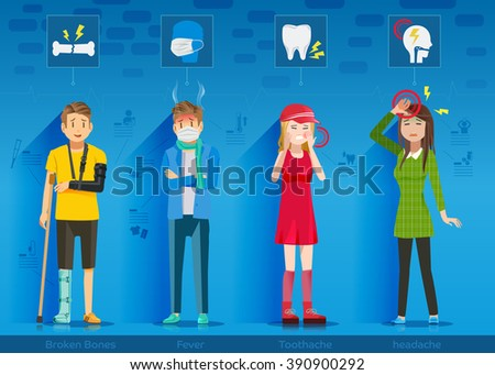 Teens who suffer from the disease. character of the patients are teenagers.  - stock vector