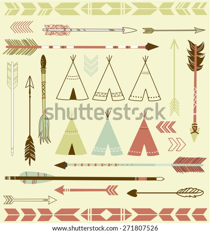 Teepee Tents and arrows collection - hipster style - stock vector