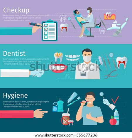 Teeth care horizontal banners set of prophylactic checkup dentist tools and hygiene products flat vector illustration - stock vector