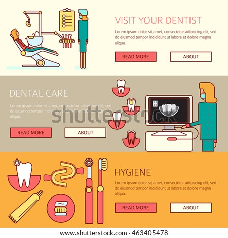 Teeth Care Horizontal Banners Set Of Prophylactic Checkup Dentist Tools And Hygiene Products Flat Vector Illustration