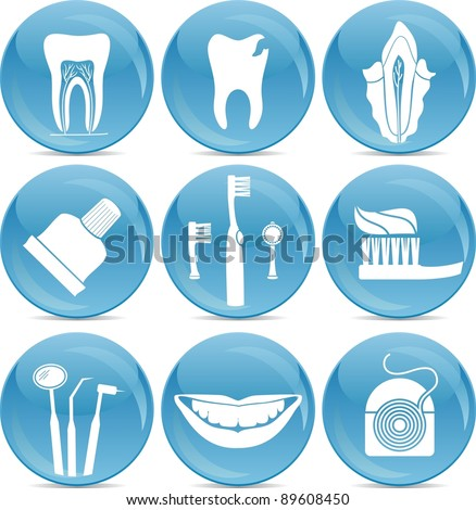 teeth care icons - stock vector