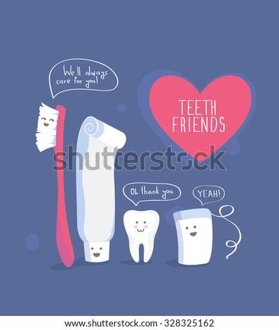 Teeth friends, healthy lifestyle vector - stock vector