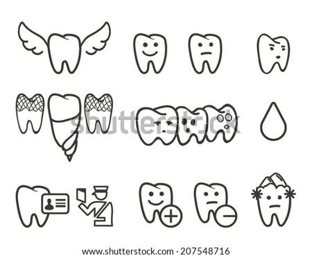 Teeth icon set - stock vector