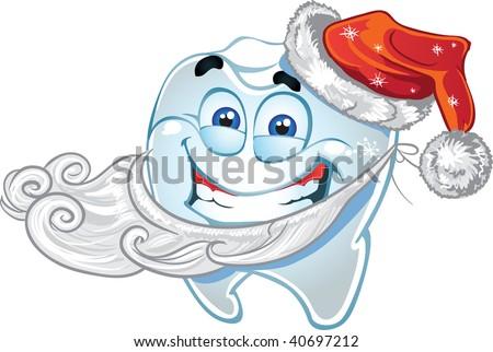 Teeth in suit Santa Claus - stock vector