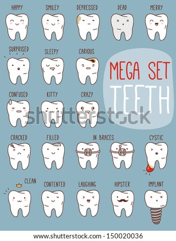Teeth mega set. Big dental collection for your design. Many various vector cartoons - sad, happy, hipster tooth, etc. Illustrations for children dentistry about toothache and treatment. - stock vector