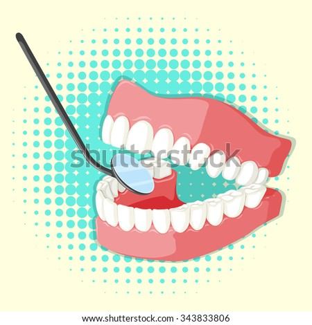 Teeth model and mirror illustration - stock vector