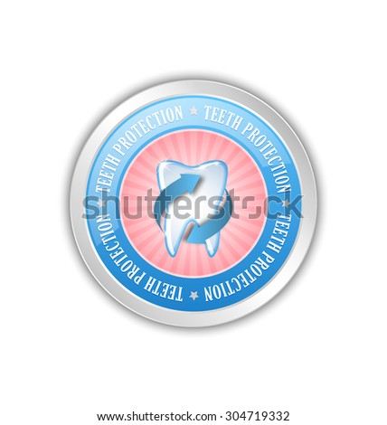 Teeth protection badge placed on white background - stock vector