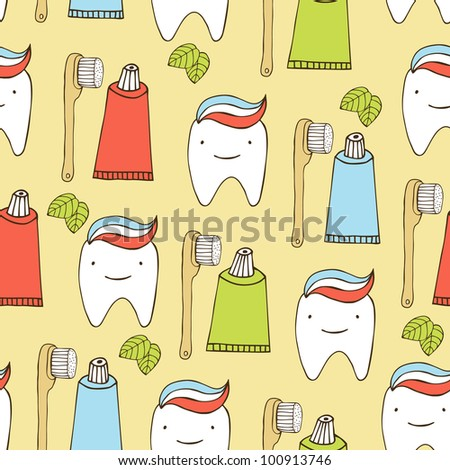 teeth seamless background - stock vector
