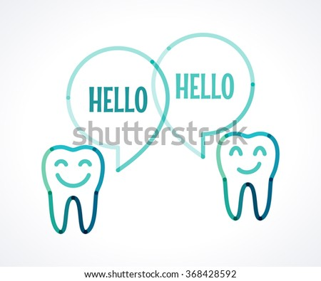 Teeth with speech bubbles. Talking teeth. Transparent overlapping linear illustration. Green, blue, turquoise linear tooth sign, symbol, icon, logo, concept. Place for your text - stock vector