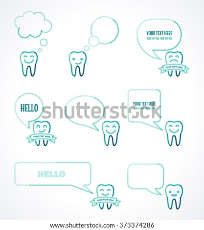 Teeth with various speech bubbles set. Talking teeth. Transparent overlapping linear illustration. Green, blue, turquoise linear tooth sign, symbol, icon, logo, concept. Place for your text - stock vector