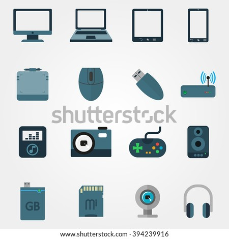 Tehnology in flat style set of devices on a grey background