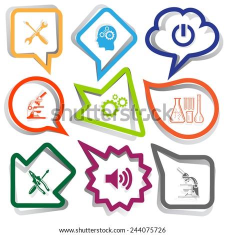 Tehnology set. Paper stickers. Vector illustration. - stock vector