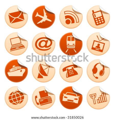 Telecom and transport stickers - stock vector