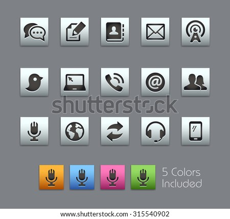 Telecommunications Icons The vector file includes 5 color versions for each icon in different layers ---- - stock vector