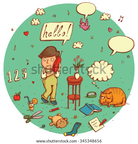 Telecommunications people No.3. Young boy in composition of different objects, signs, speech bubbles etc. isolated on background. Illustration is in eps10 vector mode. - stock vector
