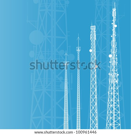 Telecommunications tower, radio or mobile phone base station vector background - stock vector