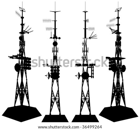 Telecommunications Tower Vector 01 - stock vector