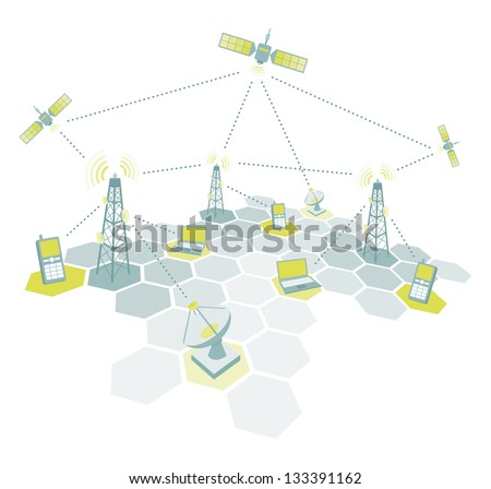 Telecommunications working diagram - stock vector