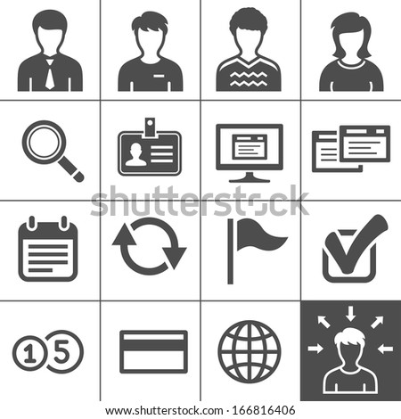 Telecommuting, remote work and telework icons. Outsourcing human resources management. Vector illustration. Simplus series - stock vector