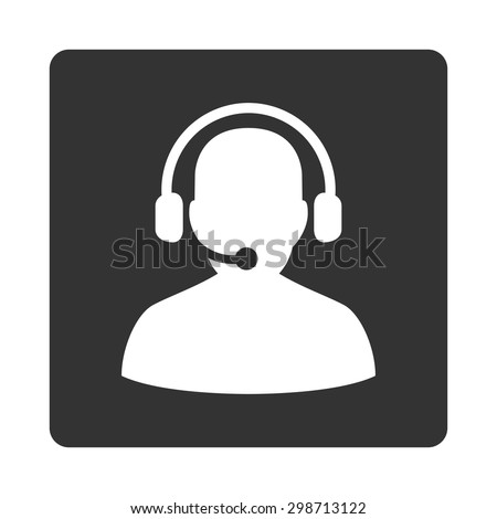 Telemarketing icon from Commerce Buttons OverColor Set. Vector style is white and gray colors, flat square rounded button, white background. - stock vector